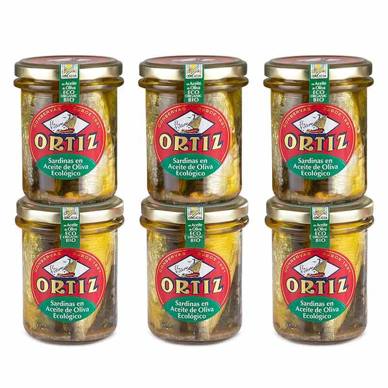 Ortiz sardiner i olivolja EKO (6-pack)