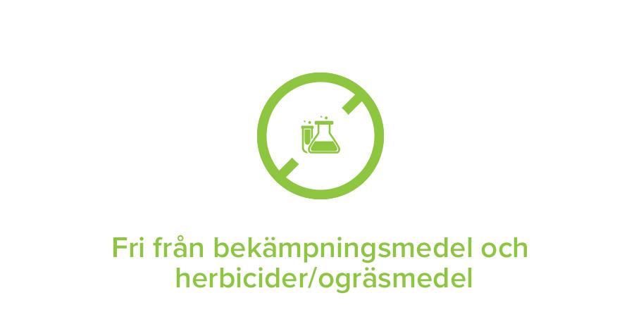 Fri från bekämpningsmedel och herbicider/ogräsmedel
